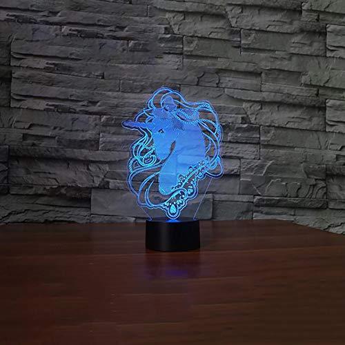 Lmpara de mesa 3D creativa unicornio cabeza de caballo botn de luz nocturna lmpara de mesa animal USB decoracin multicolor regalo