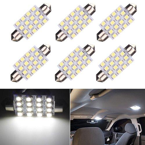 Cikuso 2 42mm 8 3528 SMD LED White Car Dome Festoon Interior Light Bulbs