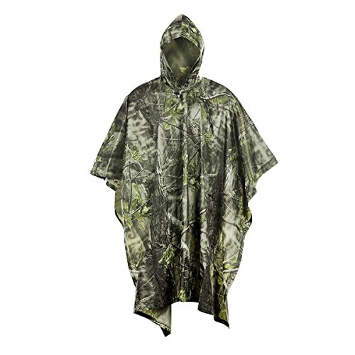 Poncho Impermeable,Onlyhere Lluvia Poncho Camuflaje PVC Transpirable Lluvia Ropa para la caza camping senderismo