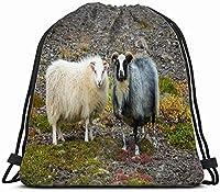 奇数ペア羊動物野生動物巾着バックパックジムサック軽量バッグ耐水性ジムバックパック女性&男性スポーツ、旅行、ハイキング、キャンプ、ショッピングヨガ