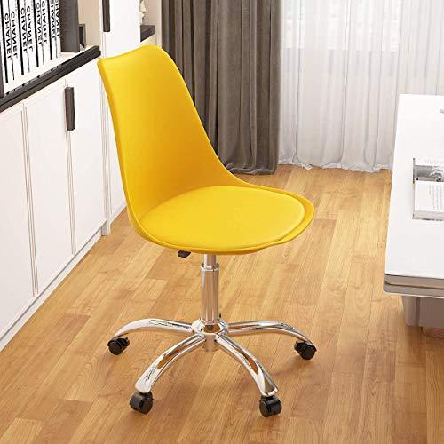 Mesas y sillas de ordenador personal, sillas de ordenador ajustables en altura para sillas giratorias de oficina Salón Recepción,Yellow