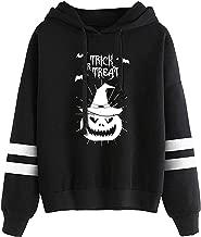 Bravetoshop Women Hoodies Halloween Pumpkin Print Solid Drawstring Hoody Pullover Sweatshirt