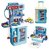 LADUO Kinder Doktor Spielzeug, 3 in1 so tun, als ob Doctor Workbench, mit Lichtern,Tönen,27 Stück elektronisches Stethoskop, Doctor Medical Play Toys Set