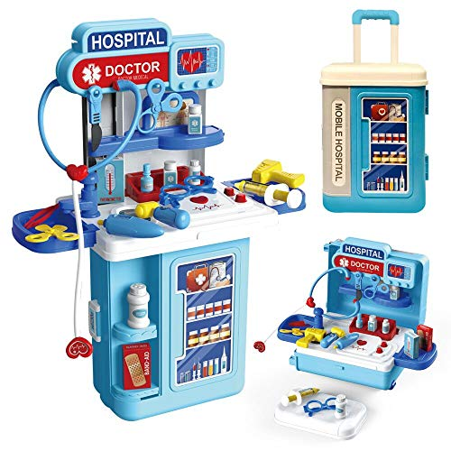 Doctor Toy Kit for Kids,3 in1 Pretend Doctor Workbench ,with Lights, Sounds.27Pcs Electronic Stethoscope,Doctor Medical Play Toys Set.for 2.3.4.5.6 yrs Girls/boy