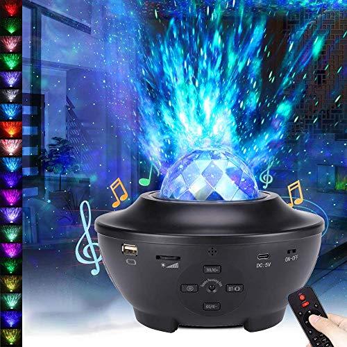Porcyco Proyector de Luz Estrellas Galaxia, Lámpara Giratorio de Mesa Infantil con 21 Modos Voice Control Remoto Temporizador Altavoz Bluetooth, Luz bebé nocturna, Luces Decorativas Habitacion Fiesta