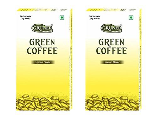Gruner Lemon Flavored Unroasted Green Coffee Powder for Weight Management – 30 Sachet (Each Sachet 3 Gram ) ( Pack of 2 )