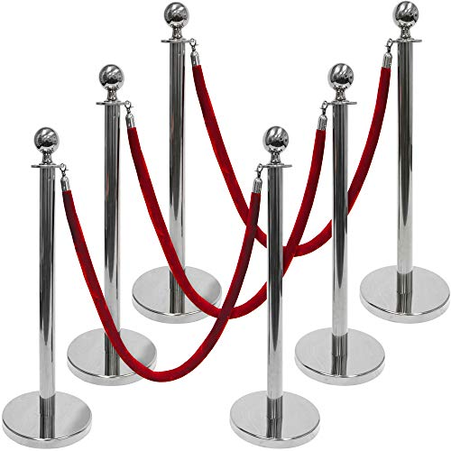 3-Foot Polished Ball Top Stanchions 6-pack | Includes 4.5-Foot Red Velvet Rope (Silver)