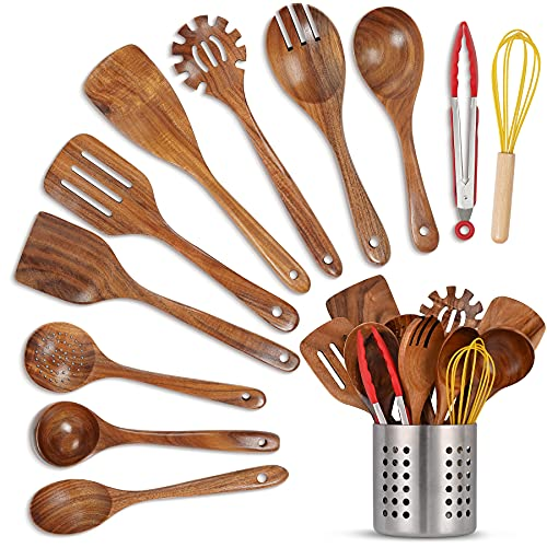 JAZUIHA 12Pcs Kitchen Cooking Utensils Set Non-stick Wooden Cooking Utensils with Spatula, Spoon, Tongs, Whisk & Stainless Holder Kitchen Tool for Cooking