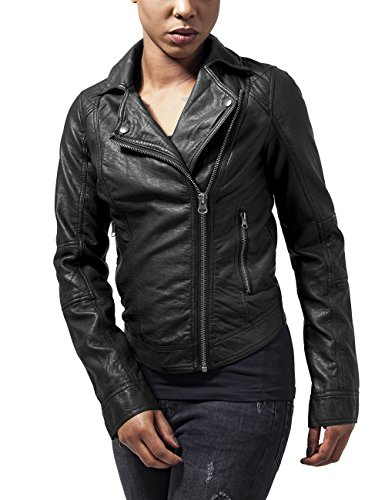 Urban Classics Damen Ladies Leather Imitation Biker Jacket Jacke, Schwarz (black 7), 34 (Herstellergröße: XS)
