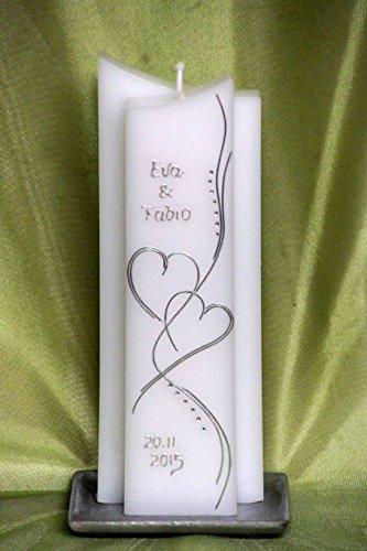 edle Hochzeitskerze mit Steinen - in Sonderform -Silber- ; inkl. Beschriftung ! I-13