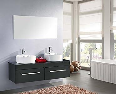 Muebles para baño para cuarto de baño con espejo baño 150 cm grifos incluido car mueble + 1 espejos + repisas + grifería + fregaderos