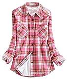 chouyatou Women's Long Sleeve Fleece Lined Plaid Flannel Shirt (X-Large, 144-Pink)