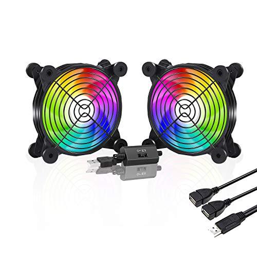 upHere U120 USB Lüfter,Multi-Speed-Steuerung,Bunte LED,mit Metallgrillschutz Gehäuselüfter 120mm zum PC/TV-Box/Empfänger/AV-Kabine/PS4/Router,U1207P-2
