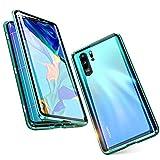 Jonwelsy Funda para Huawei P30 Pro (6,47 pulgadas), 360 grados delantera y trasera de cristal templado transparente, tecnología de absorción magnética antigolpes de metal (verde)