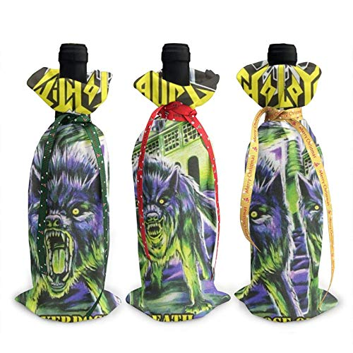 Music Toxic Holocaust Christmas Wine Bottle Covers, 3Pcs Wine Bottle Cover Decoration Cover Bags, Unique Wine Bottle Decorative Bags for Christmas Party-one_color-
