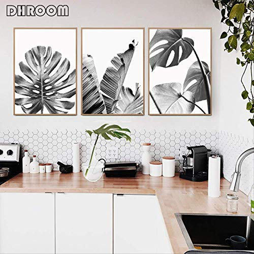 LWJZQT prints op canvas, 3 stuks, witte bladeren van kunstdruk op canvas, motief op Palma bladeren van banaanbladeren, decoratie voor thuis