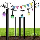 FULLOVE String Light Pole 2 Pack Light Poles Bird Feeder Poles with Hooks for Outside Garden,Backyard Patio