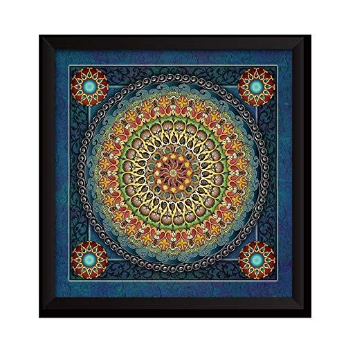 REAPP Tibetanische Thangka. Religiöse Wandmalerei Thangka Poster Drucke für Wohnzimmer Leinwand Malerei Indian Mandala Ungerahmt Wandbild (Color : 3, Size (Inch) : 12X12inch...