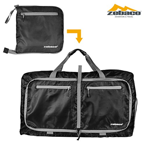 ZEBACO] Folding Ripstop Multi Bag Packable 75L, Sports Duffel Backpack Lightweight Foldable Luggage Travel Water Resistant Nylon Gym Bags With Shoulder Strap (Black)