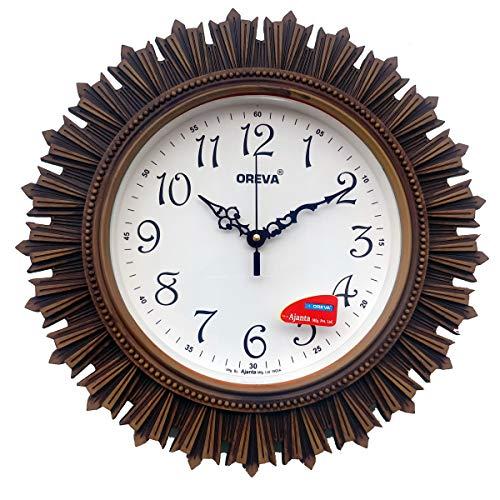 Oreva Plastic Wooden Look Designer Wall Clock (32.5 x 32.5 x 4.8 cm, Wood, AQ 6197)