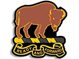 GHaynes Distributing Buffalo Soldiers Ready and Forward Logo Shaped Sticker Decal (Army Black Infantry) 4 x 4 inch