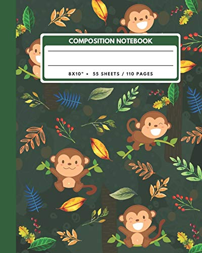 Composition Notebook: Monkey Cartoon And Leaves - Animals Exercise Book Journal , Back To School Gifts For Teens Girls Boys Kids Friends Students 8x10