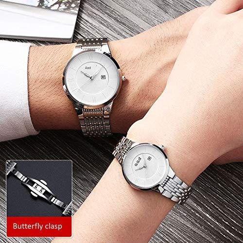 Uhr Männer Paar Uhren Nicht mechanische Uhren Stahl weiß Nudel Paar 1 Paar - Schmetterling Schnalle Metallkern Leuchtend