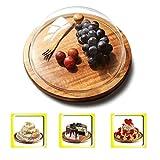 Bandeja de almacenamiento de pastelería Pastel de placa con la tapa plástica, barra de madera Cheese Steak Sushi bandeja de frutas Inicio tapa de protección de Sandwich polvo Dome 28/32 CM Los frutos