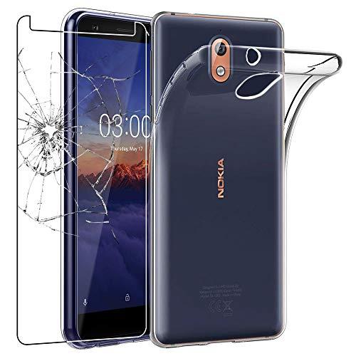 ebestStar - Cover Compatibile con Nokia Nokia 3.1 (2018) Custodia Trasparente Silicone Gel TPU Protezione Morbida, Trasparente +Pellicola Vetro Temperato [Apparecchio: 146.25 x 68.65 x 8.7mm, 5.2'']