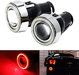 iJDMTOY 3-Inch Projector Fog Light Lamps w/ 40-SMD Brilliant Red LED Halo Angel Eyes Rings For Any Car SUV Truck