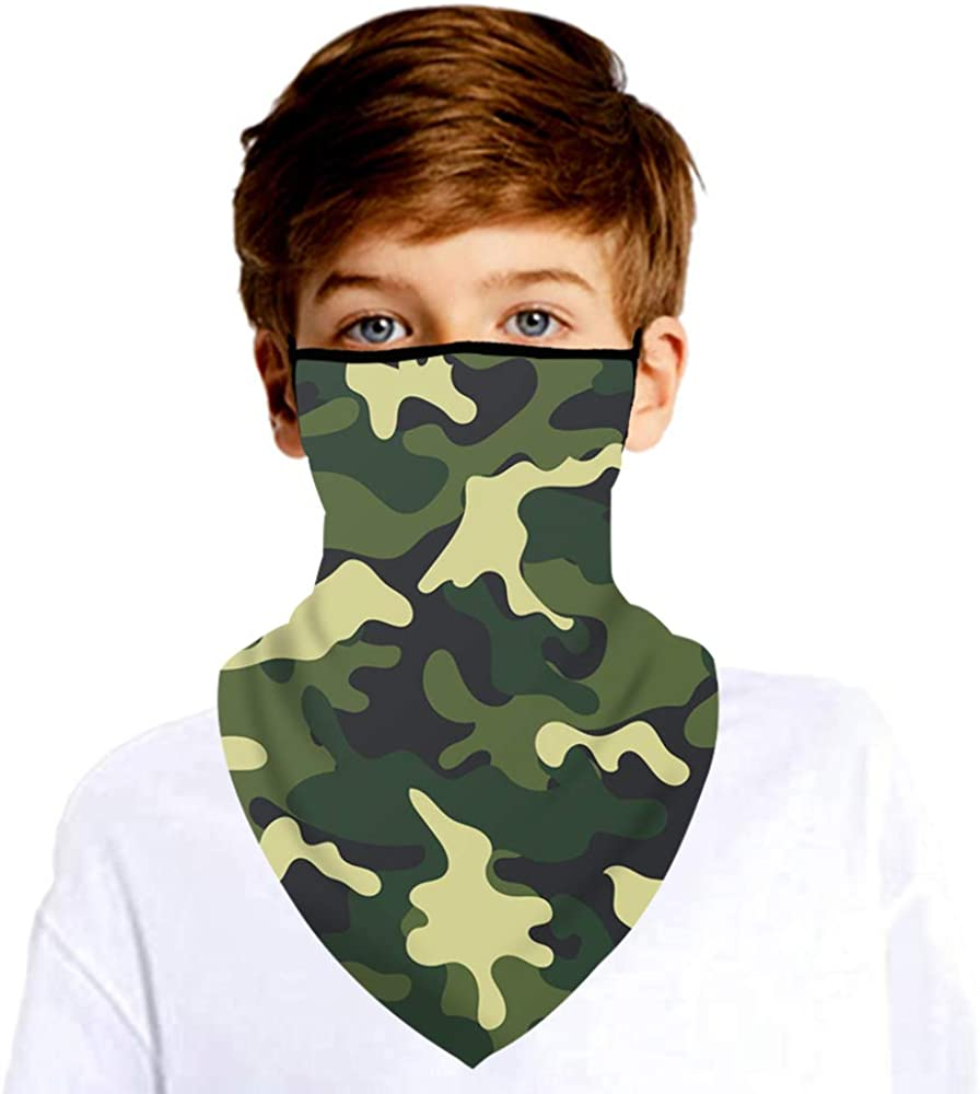 Kids Boys Girls Neck Gaiter Face Cover Scarf with Ear Loops Children Balaclava Bandana for Outdoor Sports