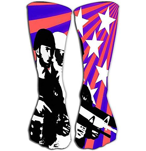 NGMADOIAN vrouwen 'meisjes' nieuwigheid sokken grappige laarzen sokken 19,7 '(50 cm) ons thema militaire voorbeeld Verenigde Staten soldaat silhouetten