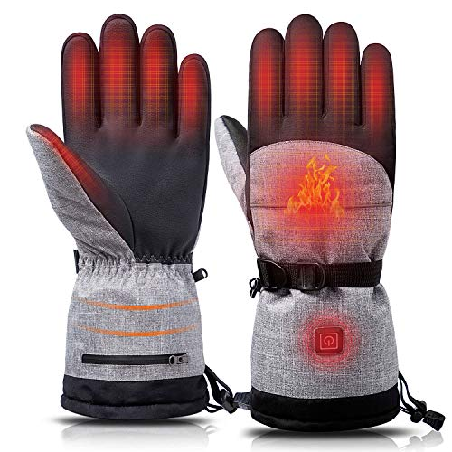 Lixada Heated Gloves Warm Winter Gloves Touch Screen Thermal Gloves Full Finger Gloves for Men & Women Waterproof Electric Heated...