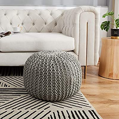 """Cheer Collection 18"""" Round Pouf Ottoman - Chunky Hand-Knit Decorative and Comfortable Foot Rest, Gray"""