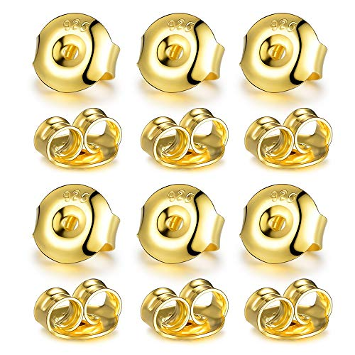 DELECOE 18K Yellow Gold Plated Earring Backs Replacements, Stering Silver Earring Backs Hypoallergenic Secure Earring Backs for Studs, 12PCS/6 Pair