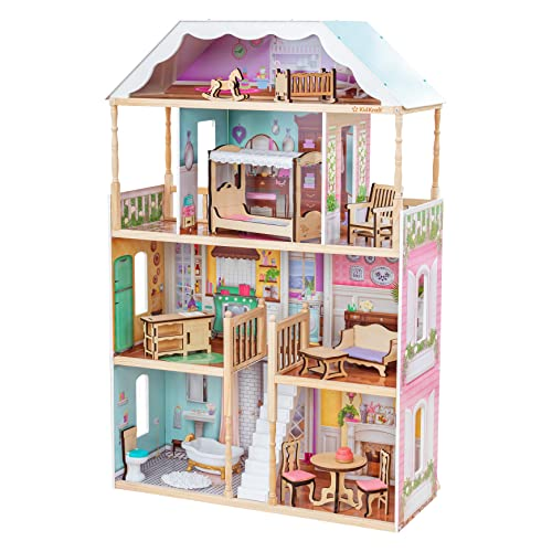 KidKraft Charlotte Classic Wooden Dollhouse with EZ Kraft Assembly, 14-Piece...