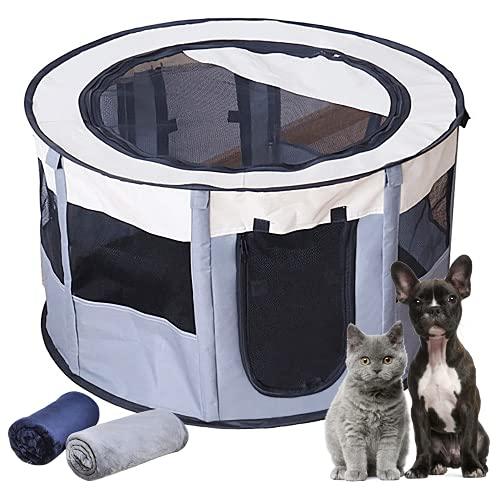 EZGETOP Hundelaufställe Faltbarer Welpenauslauf Welpenlaufstall Tierlaufstall für Hunde Grau, 1 extra 100 x 70 cm Kuscheldecke
