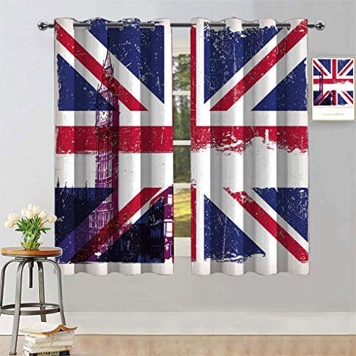 """Union Jack Custom Blackout Curtains, Grungy Aged UK Flag Big Ben Double Decker Country Culture Historical Landmark Window Treatment Drapes for Office, Each Panel 36"""" W x 72"""" L Multi"""