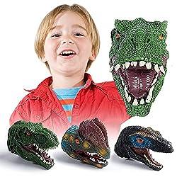 4. KIDAMI Dinosaur Puppets Hand Puppet (Set of 3)