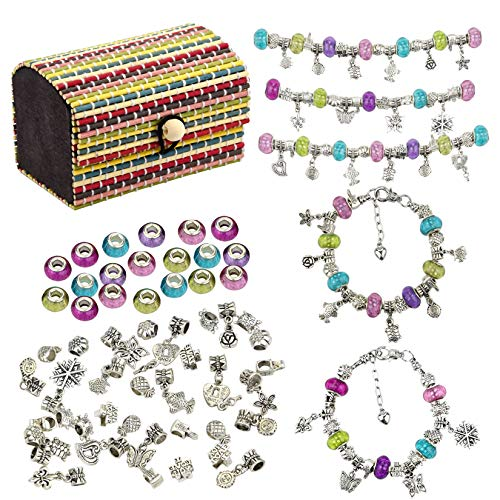 59pcs DIY Charm Bracelet Making Kit Including 20 Multi Color Beads + 20 Metal Beads + 15 Pendant Beads + 3 Silver Plated Snake Chain + 1 Storage Box for Jewelry Necklace Making Supplies Women Girls
