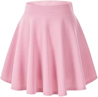 Casual Mini Stretch Waist Flared Plain Pleated Skater Skirt