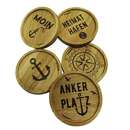 5er Set Maritime Tischuntersetzer Untersetzer rund aus Holz in versch. Motive, Tischplattenschutz Getränkeuntersetzer für alle Gläser Ø 11,8cm