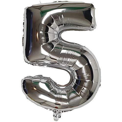 DIWULI, XL Zahlen-Ballons, Zahl 5, Silberne Luftballons, Zahlenluftballons Silber, Folien-Luftballons Nummer Nr Jahre, Folien-Ballons 5. Geburtstag, Hochzeit, Party, Dekoration, Geschenk-Deko