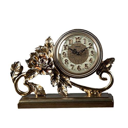 JCOCO Européenne rétro horloge de table muet non-ticking créatif table décoration résine horloge pour salon chambre quartz bureau horloge