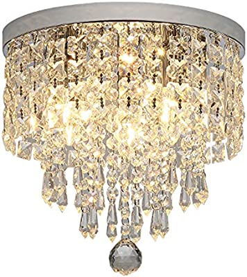 Hsyile KU300142 Modern Chandelier Crystal Ball Fixture Pendant Ceiling Lamp H9.84
