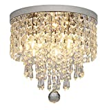 Hsyile KU300142 Modern Chandelier Crystal Ball Fixture Pendant Ceiling Lamp H9.84' X W9.84',for Living Room,Bedroom,Aisle,Corridor,3 Lights