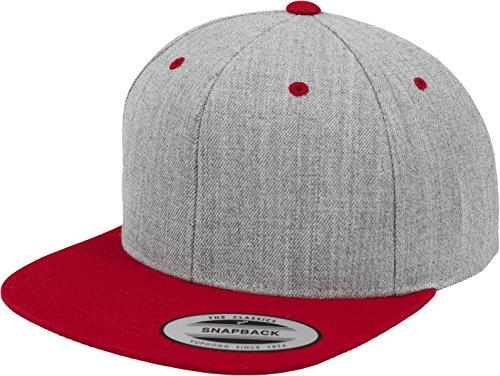 Yupoong Flexfit Unisex Kappe Classic Snapback 2-Tone, zweifarbige blanko Cap mit geradem Schirm, One Size Einheitsgröße für Männer und Frauen, Farbe heather/red