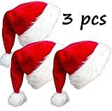 Weihnachtsmütze aus Plüsch, für Erwachsene, Rot, 3 Stück