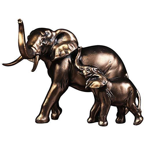 RSRZRCJ Statues Décoratives Résine Rétro Mère Et Fille Éléphant Ornements Armoire À Vin Décoration Artisanat Mobilier De Bureau