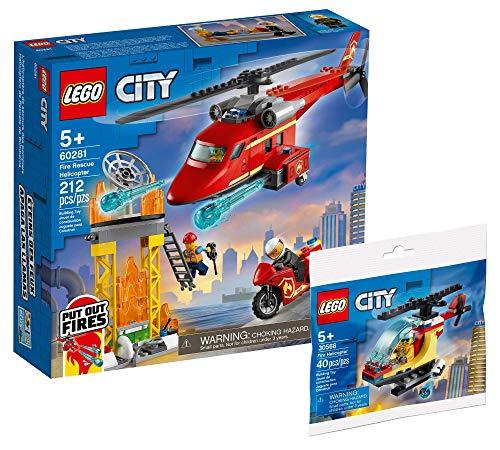 Collectix Lego 60281 - Juego de helicóptero de bomberos y helicóptero pequeño 30566, set de regalo a partir de 5 años